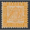 BADEN - 1862 30Kr orange Coat of Arms, white background, perf. 10:10, MH – Michel # 22b