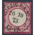 GERMANY - 1872 1Gr carmine Shield (Großer Brustschild), 'background stroke missing', used – Michel # 19XXI