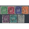 GERMANY - 1924 5pf to 300pf Wood Pigeon Airmail set of 7, used – Michel # 344-350
