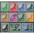 GERMANY - 1934 5pf to 3RM Airmail set of 11, used – Michel # 529-539