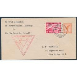 GERMANY - 1933 1M red Graf Zeppelin, Chicagofahrt Weltausstellung 1933, flight cover – Michel # 496