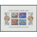 EAST GERMANY / DDR - 1953 10pf to 84pf Karl Marx Year M/S, perf., MNH – Michel # Block 9A