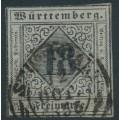 WÜRTTEMBERG - 1851 18Kr black on pale blue-violet Numeral (type I), imperforate, used – Michel # 5I
