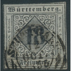 WÜRTTEMBERG - 1851 18Kr black on pale blue-violet Numeral (type I), imperforate, used – Michel # 5I