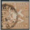 WÜRTTEMBERG - 1857 1Kr yellow-brown Coat of Arms, imperf. with silk thread, used – Michel # 6a