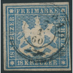 WÜRTTEMBERG - 1857 18Kr pale blue Coat of Arms, imperf. with silk thread, used – Michel # 10a