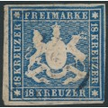 WÜRTTEMBERG - 1860 18Kr blue Coat of Arms, imperf. without silk thread, used – Michel # 15