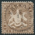 WÜRTTEMBERG - 1860 1Kr brown Coat of Arms, perf. 13½ on thick paper, used – Michel # 16xa