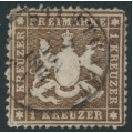 WÜRTTEMBERG - 1861 1Kr darker brown Coat of Arms, perf. 13½ on thin paper, used – Michel # 16yb
