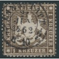 WÜRTTEMBERG - 1861 1Kr deep brown Coat of Arms, perf. 13½ on thin paper, used – Michel # 16yb