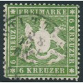 WÜRTTEMBERG - 1860 6Kr green Coat of Arms, perf. 13½ on thick paper, used – Michel # 18xa