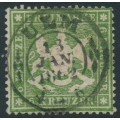 WÜRTTEMBERG - 1861 6Kr green Coat of Arms, perf. 13½ on thin paper, used – Michel # 18ya