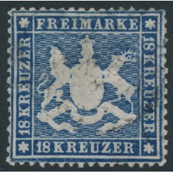 WÜRTTEMBERG - 1862 18Kr blue Coat of Arms, perf. 13½ on thin paper, used – Michel # 20y