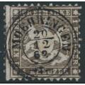 WÜRTTEMBERG - 1862 1Kr deep brown Coat of Arms, perf. 10, used – Michel # 21