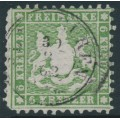 WÜRTTEMBERG - 1862 6Kr green Coat of Arms, perf. 10, used – Michel # 23a