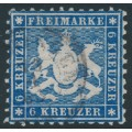 WÜRTTEMBERG - 1864 6Kr blue Coat of Arms, perf. 10, used – Michel # 27a
