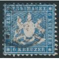 WÜRTTEMBERG - 1864 6Kr pale blue Coat of Arms, perf. 10, used – Michel # 27b