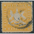WÜRTTEMBERG - 1867 18Kr orange Coat of Arms, rouletted, used – Michel # 34