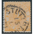 WÜRTTEMBERG - 1872 2Kr dull orange Numeral in Oval, rouletted, used – Michel # 37a