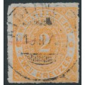 WÜRTTEMBERG - 1878 2Kr red-orange Numeral in Oval, rouletted, used – Michel # 37b
