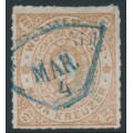 WÜRTTEMBERG - 1873 9Kr pale brown Numeral in Oval, rouletted, used – Michel # 40a