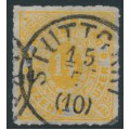 WÜRTTEMBERG - 1869 14Kr yellow-orange Numeral in Oval, rouletted, used – Michel # 41a