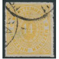 WÜRTTEMBERG - 1869 14Kr orange-yellow Numeral in Oval, rouletted, used – Michel # 41a