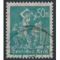 GERMANY - 1923 50Mk blue-green Miners, network watermark, geprüft, used – Michel # 245
