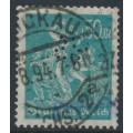 GERMANY - 1923 50Mk blue-green Miners, network watermark, perfin, geprüft, used – Michel # 245