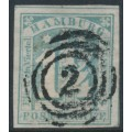 HAMBURG - 1864 1¼S grey-green Numeral, imperforate, used – Michel # 8d