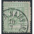 HAMBURG - 1866 2½S green Numeral, perf. 13½, second printing, used – Michel # 14II