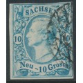 SACHSEN - 1856 10NGr milky blue King Johann I, imperforate, used – Michel # 13a