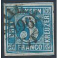 BAVARIA / BAYERN - 1858 3Kr blue Numeral, imperforate, with a variety, used – Michel # 2II PFXIV