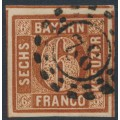 BAVARIA / BAYERN - 1850 6Kr brown Numeral, plate 1, imperforate, used – Michel # 4II