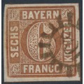 BAVARIA / BAYERN - 1850 6Kr brown Numeral, plate 1, imperforate, thin paper, used – Michel # 4II