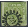 BAVARIA / BAYERN - 1851 9Kr yellowish green Numeral (type II), imperf., used – Michel # 5IIc