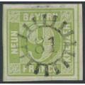 BAVARIA / BAYERN - 1852 9Kr light yellowish green Numeral (type II), imperf., used – Michel # 5IId