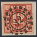 BAVARIA / BAYERN - 1858 12Kr red Numeral, imperforate, used – Michel # 6