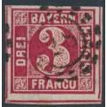 BAVARIA / BAYERN - 1862 3Kr carmine Numeral , imperforate, used – Michel # 9b