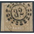 BAVARIA / BAYERN - 1862 9Kr ochre-brown Numeral, imperforate, used – Michel # 11