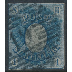 SCHLESWIG-HOLSTEIN - 1850 1Sch blue Eagle, imperforate, used – Michel # 1a