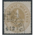 SCHLESWIG-HOLSTEIN - 1865 4Sch ochre Numeral, rouletted, used – Michel # 12