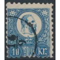 HUNGARY - 1871 10Kr blue Emperor Franz Josef (engraved), used – Michel # 10a