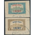 HUNGARY - 1918 Airmail overprints set of 2 on the Parliament issue, used – Michel # 210-211