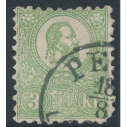 HUNGARY - 1871 3Kr green Emperor Franz Josef (lithographed), used – Michel # 2
