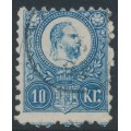 HUNGARY - 1871 10Kr blue Emperor Franz Josef (engraved printing), used – Michel # 11a