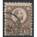 HUNGARY - 1871 15 Kr brown Emperor Franz Josef (engraved), used – Michel # 12a