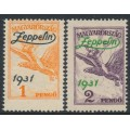 HUNGARY - 1931 1P orange & 2P violet Turul airmail overprinted Zeppelin, MH – Michel # 478-479