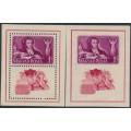 HUNGARY - 1949 1Ft+1Ft purple/red Pushkin perf. & imperf. M/S, MNH – Michel # Block 14A+14B
