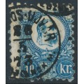 HUNGARY - 1871 10Kr blue Emperor Franz Josef (engraved), used – Michel # 11a
